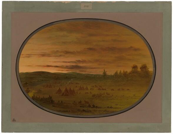 An Indian Encampment at Sunset