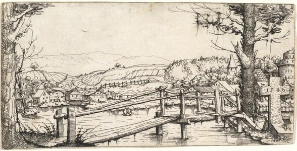 River Landscape with a Footbridge