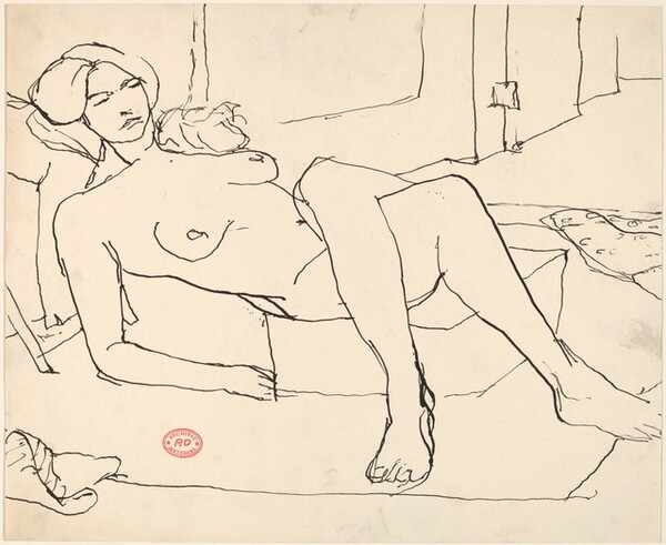Untitled [reclining female nude with crossed legs]