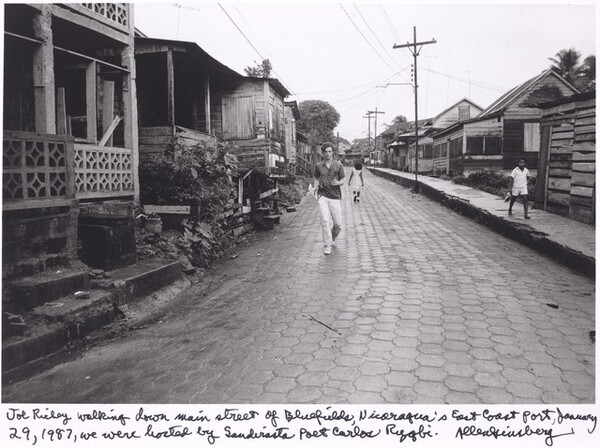 Joe Richey walking down main street of Bluefields, Nicaragua