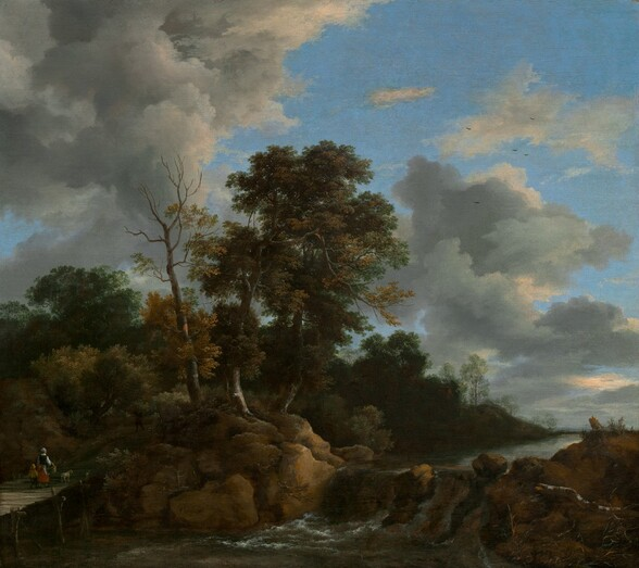 """We look out over a landscape with a tall, full, leafy tree at the center growing on the bank of a river that runs alongside a forest and into the distance with towering, steely-gray clouds against a vivid blue sky above in this nearly square painting. The stream runs towards us from the distance to our right into the lower left corner of the canvas, tumbling down a low waterfall in front of the towering tree at the center. The river is lined with caramel-brown boulders close to us. They bring our eye to a woman and small child walking away from us on a footbridge spanning the river, to our left. The woman wears a white cap and apron, a dark bodice over a white shirt, and a red skirt. She carries the handle of a large basket hooked over her right forearm and the child, wearing tan, walks on her opposite side. A white dog near the woman seems to have paused and looked into the forest beyond. The horizon of the river comes about a quarter of the way up the composition so the trees, sky, and clouds fill most of the painting. The artist signed the painting as if he had written his name on a rock to the left of center: """"J v Ruisdael."""""""