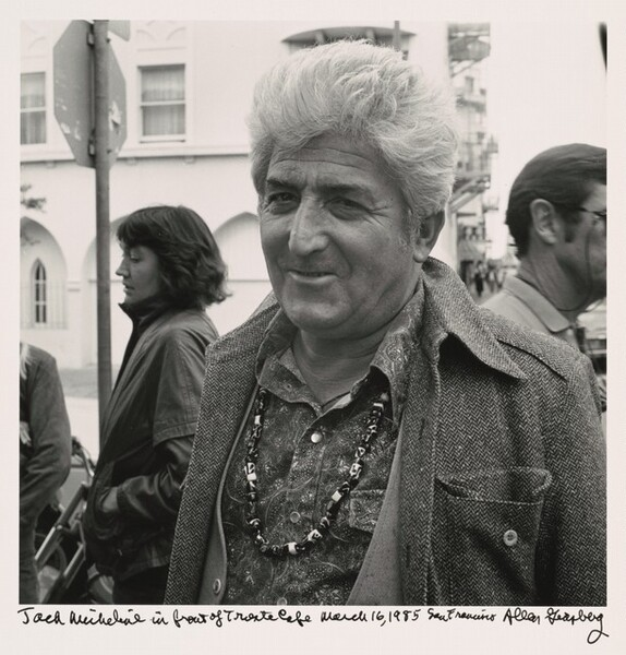 Jack Micheline in front of Trieste Cafe March 16, 1985 San Francisco