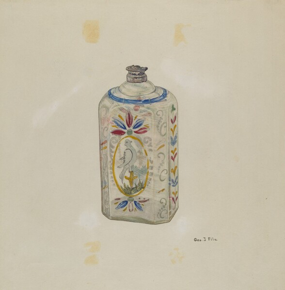 Decorated Glass Flask