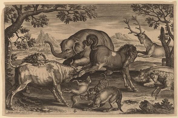 Lion, Bull, Fox, Wolf, Dog, Boar, Goat, Horse, Elephant and Deer