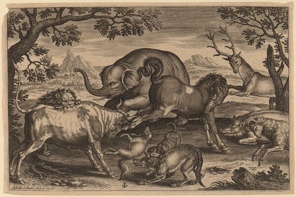 Lion, Bull, Fox, Wolf, Dog, Boar, Goat, Horse, Elephant and Deer