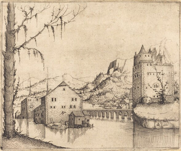 River Landscape with Two Buildings