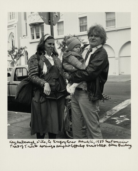 Kay MacDonough, Nile, & Gregory Corso March 16, 1985 San Francisco Front of Trieste Morning Hangout Coffeeshop Grant Street.
