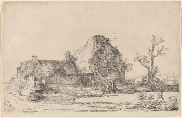 Cottages and Farm Buildings with a Man Sketching
