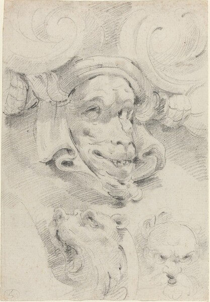 Ornamental Sketches with Grotesque Masks