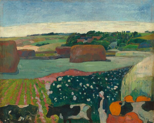 """We look out onto a landscape with tawny-brown haystacks and trees among a patchwork of moss, lime, mint, and pine-green fields in this stylized, horizontal painting. The scene is painted with mostly flat areas of color. Seeming closest to us, along the bottom edge of the canvas, a woman wearing a white cap and dress and a navy blue jacket stands among three black-and-white spotted cows, which form a line facing our left in profile. Several round, tangerine-orange forms surround the head of the cow near the lower right corner. Their function is not clear. The strip of land on the other side of the cows is divided into alternating rows of spring green and coral pink to our left, and forest green dotted with white to our right. The landscape stretches to the horizon, which comes two-thirds of the way up the composition. Rectangular parcels of land are dotted with four rust-brown haystacks beyond the cows, and trees cluster around several brown roofs in the distance to our right. A band of cream-white clouds lines the horizon beneath the topaz-blue sky above. The artist signed and dated the work in dark paint against the white of the cow in the lower right corner: """"P. Gauguin 90."""""""