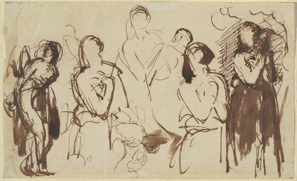 Figure Studies: A Bound Man and a Woman with Clasped Hands