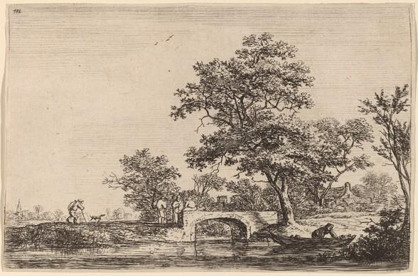 Four Men on a Stone Bridge