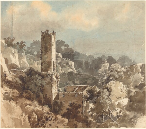 Ruins of a Fortified Tower among Wooded Hills