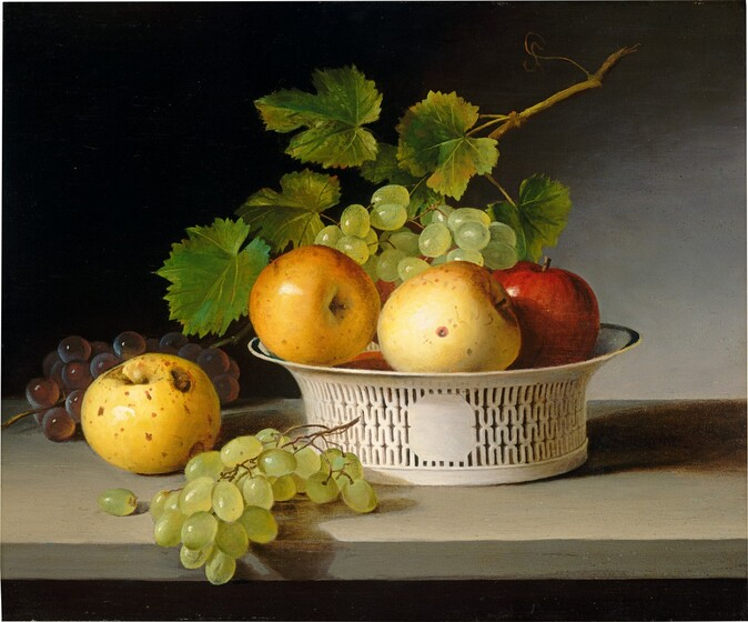 <p>James Peale, Fruit Still Life with Chinese Export Basket, 1824