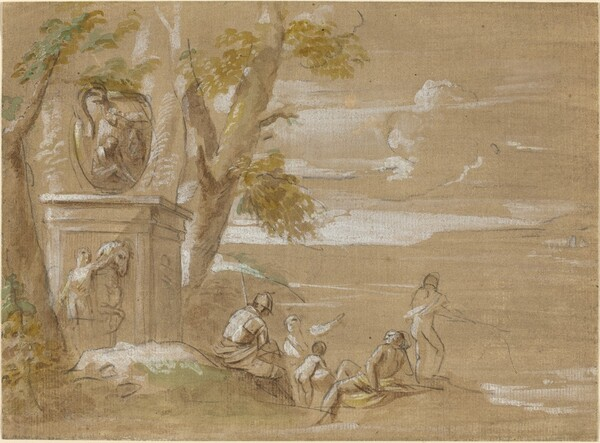 A Landscape with Seated Soldiers and Fishermen