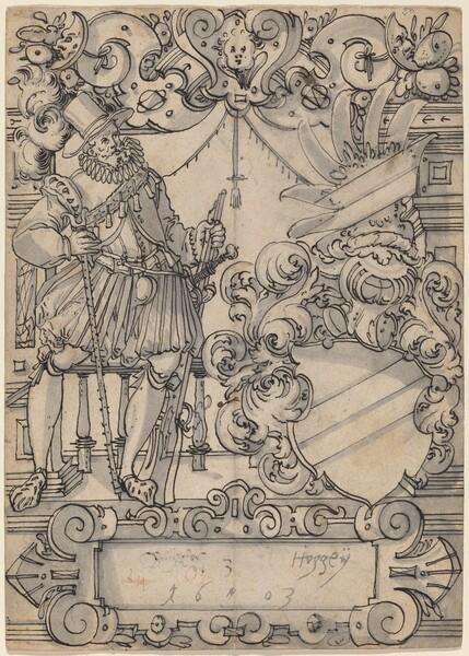 A Donor with a Coat of Arms (Schildbegleiter und Wappenschild mit Schrägbalken)