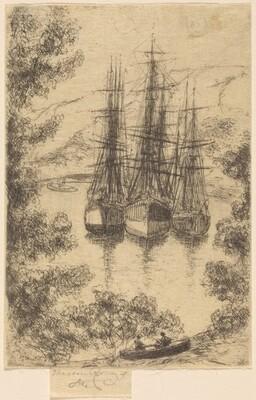 Ships at Fowey, in Cornwall