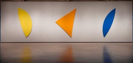 Three Panels: Yellow, Orange, Blue