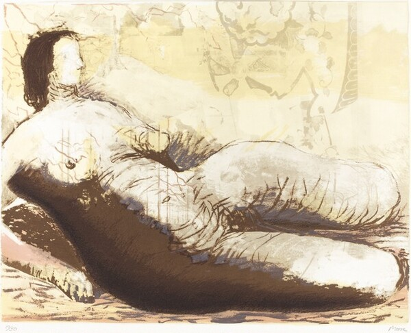 Reclining Woman on Yellow Background