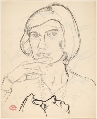 Untitled [portrait of a woman and profile study] [recto]