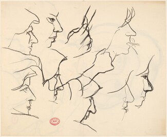 Untitled [studies of woman's face and hands] [verso]