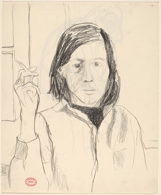 Untitled [portrait of a woman with cigarette] [recto]