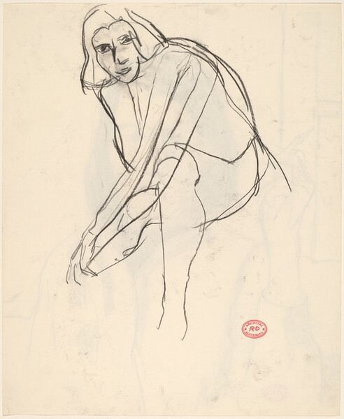 Untitled [seated woman leaning forward and reaching down] [verso]