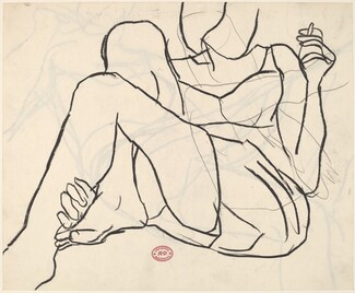 Untitled [woman reclining in a dress with hand to mouth]