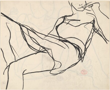 Untitled [seated woman holding a cigarette and touching her foot]