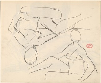 Untitled [studies of a seated female nude]