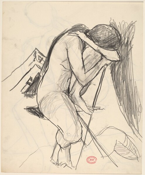 Untitled [seated female nude with head bowed]