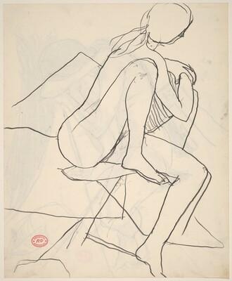 Untitled [seated female nude turning aside]