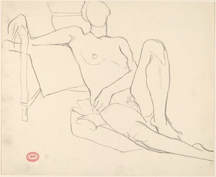 Untitled [female nude seated on a cushion]