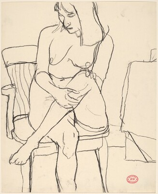Untitled [female nude seated in armchair with legs crossed]