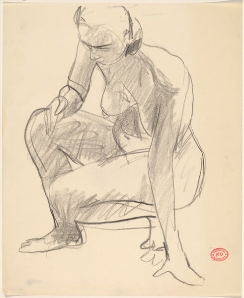 Untitled [crouching nude balancing herself on her left hand]