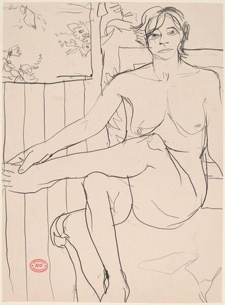 Untitled [seated nude crossing her leg and holding her left foot]