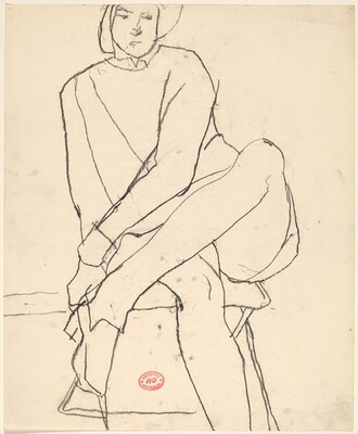 Untitled [seated woman leaning left and crossing her legs]
