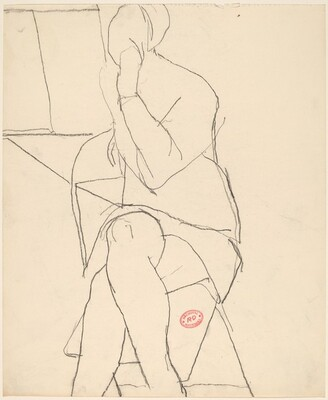 Untitled [woman seated in a folding chair and crossing her legs]