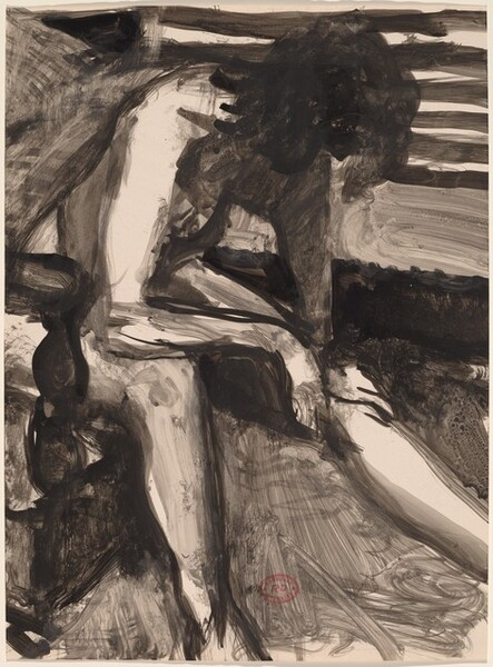 Untitled [seated female nude leaning forward with bowed head]