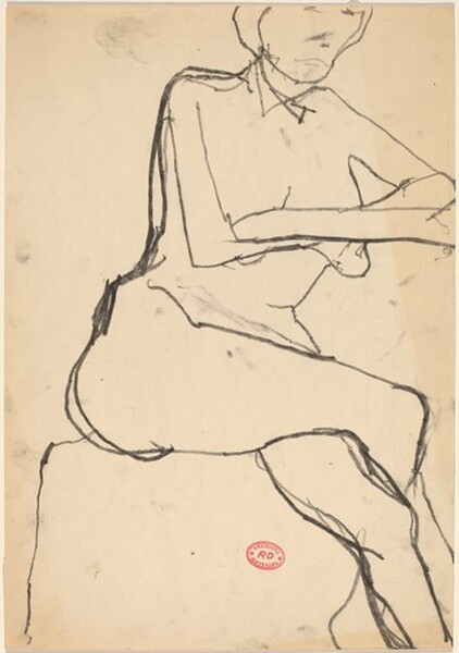 Untitled [seated woman crossing her arms and legs]