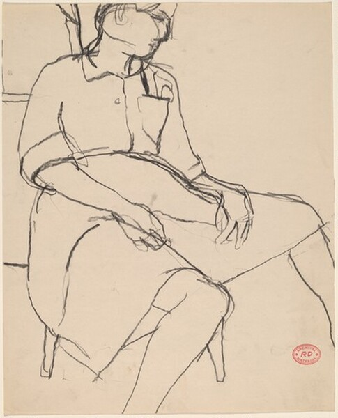 Untitled [woman in a dress seated with her hands in her lap]
