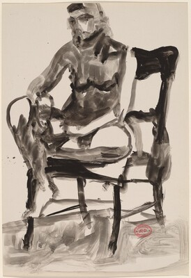 Untitled [female nude seated in a highback chair]