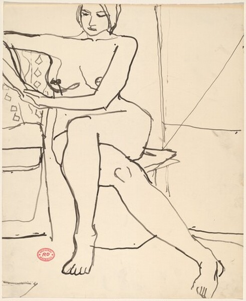 Untitled [seated female nude with legs crossed]