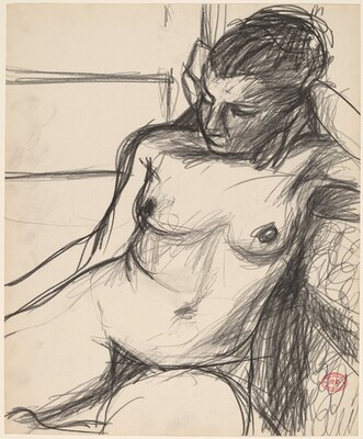 Untitled [seated nude with her left arm on the seat back]
