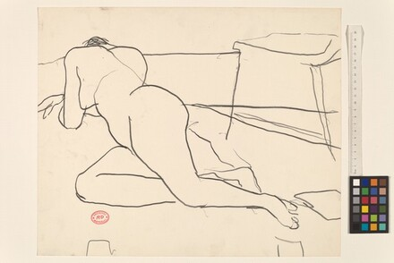 Untitled [reclining nude resting on her side and arms]