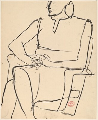 Untitled [woman seated in armchair clasping her hands]