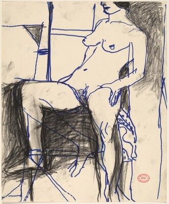 Untitled [seated female nude facing left]