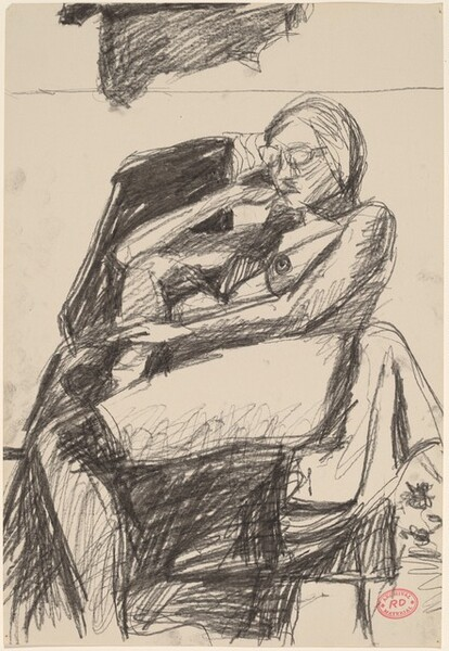 Untitled [seated nude woman wearing glasses]