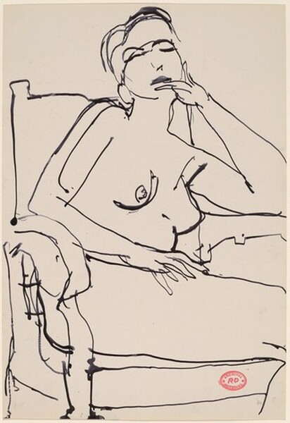 Untitled [nude in an armchair touching her chin with her left hand]