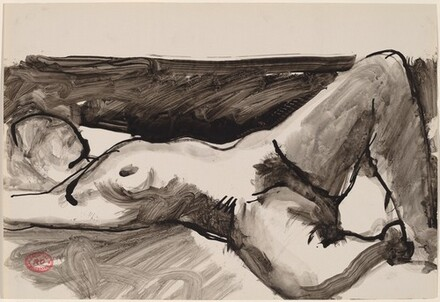 Untitled [reclining female nude with legs apart]